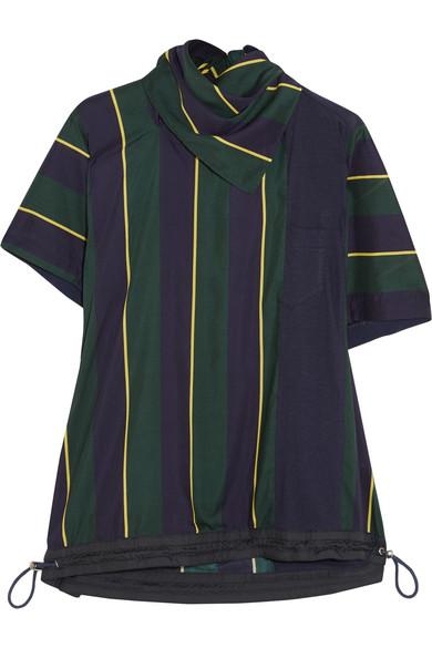 Sacai - Striped Linen-blend T-shirt - Navy