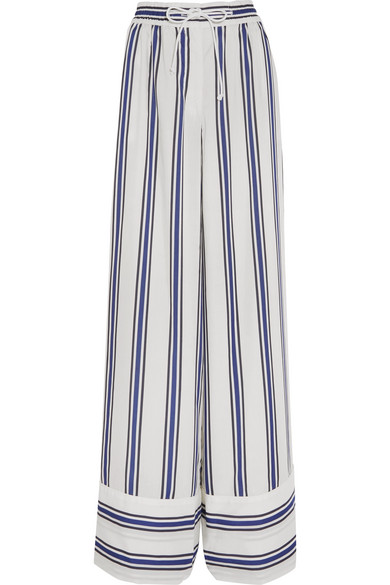 Sacai - Striped Voile Wide-leg Pants - White