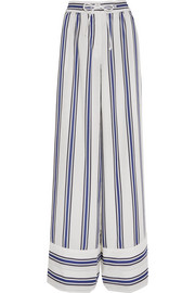 Striped voile wide-leg pants