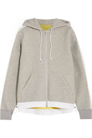 Oversized grosgrain-trimmed cotton-blend jersey hooded top