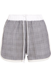 Laser-cut Prince of Wales checked cotton-jacquard shorts