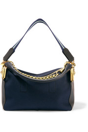 Leather-trimmed canvas shoulder bag