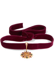Percossi Papi Velvet and gold-plated multi-stone choker