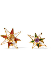 Percossi Papi Gold-plated, citrine, amethyst and enamel earrings