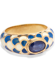 Gold, sapphire and enamel ring
