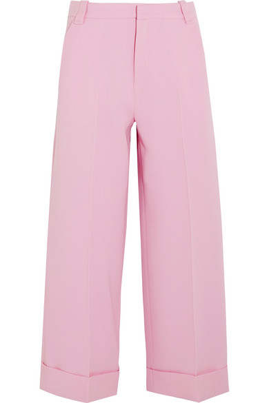 Rew cropped wool-crepe wide-leg pants
