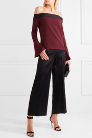 Roland Mouret Heaney off-the-shoulder draped stretch-crepe top