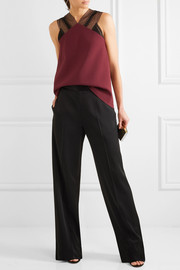 Roland Mouret Dave lace-trimmed draped crepe top