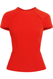 Cymatia stretch-crepe peplum top
