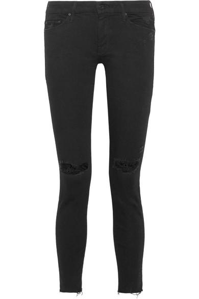 Mother Looker halbhohe Skinny Jeans in Distressed-Optik