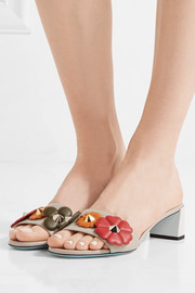 Fendi Embellished leather mules