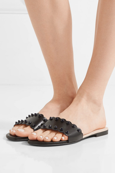 ad83f342363 Fendi. Scalloped studded leather slides