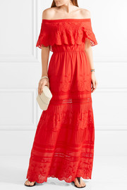 Alice + Olivia Pansy off-the-shoulder embroidered cotton maxi dress