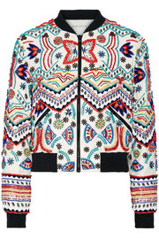 Lonnie embellished silk-chiffon bomber jacket