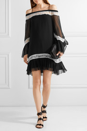 Willie cold-shoulder lace-trimmed silk-chiffon mini dress