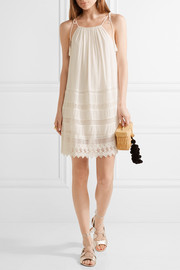 Danna lace-trimmed crepon mini dress