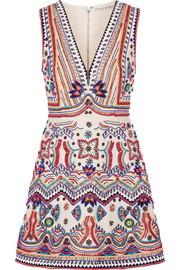 Alice + Olivia Patty embellished cotton-canvas mini dress