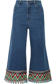 Alice + Olivia Beta cropped embroidered high-rise wide-leg jeans