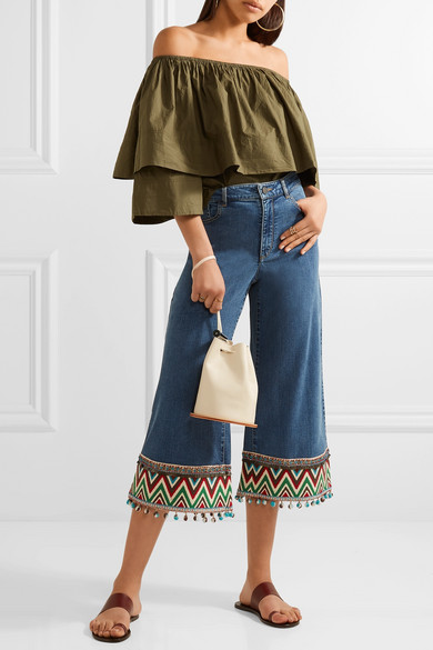 Alice + Olivia. Beta cropped embroidered high-rise wide-leg jeans