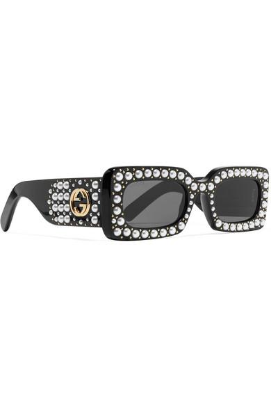 e2734b63296 Embellished square-frame acetate sunglasses