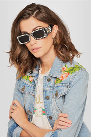 Gucci Embellished square-frame acetate sunglasses