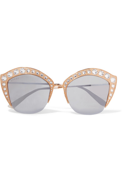 39d78af9ad Gucci. Crystal-embellished cat-eye gold-tone mirrored sunglasses