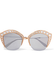 Crystal-embellished cat-eye gold-tone mirrored sunglasses