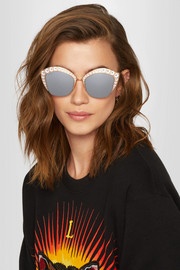 Gucci Crystal-embellished cat-eye gold-tone mirrored sunglasses
