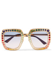 Crystal-embellished square-frame gold-tone sunglasses