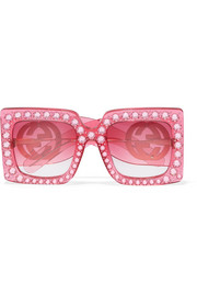 Gucci Crystal-embellished square-frame acetate sunglasses