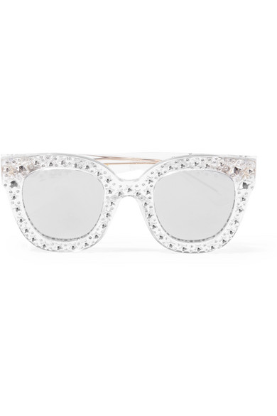98009ef117e Gucci. Crystal-embellished cat-eye acetate mirrored sunglasses
