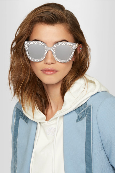 1a2e87612b8 Gucci. Crystal-embellished cat-eye acetate mirrored sunglasses. £645. Zoom  In