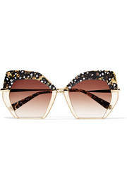 KREWE Octavia square-frame acetate and gold-plated sunglasses