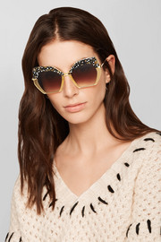 Octavia square-frame acetate and gold-plated sunglasses