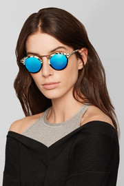 St. Louis round-frame acetate and silver-tone mirrored sunglasses