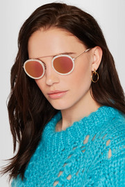 Conti round-frame acetate and rose gold-tone mirrored sunglasses