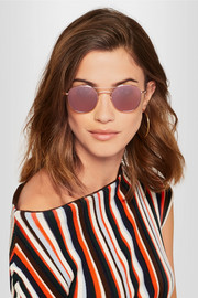 Orleans round-frame rose gold-plated and acetate mirrored sunglasses