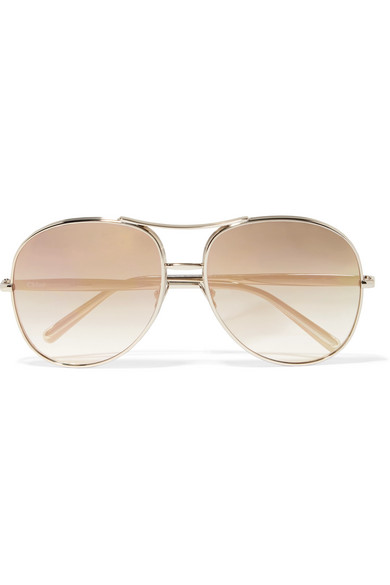 Aviator-style Gold-tone Sunglasses - one size Chloé eQqo2Dce1g
