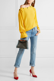 Fendi Peekaboo mini elaphe-trimmed leather shoulder bag