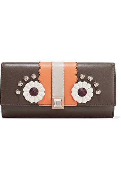 Fendi - Studded Appliquéd Leather Continental Wallet - Dark brown at NET-A-PORTER