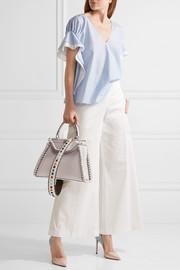 Fendi Studded two-tone textured-leather bag strap