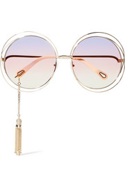 EXCLUSIVE Carlina round-frame gold-tone sunglasses