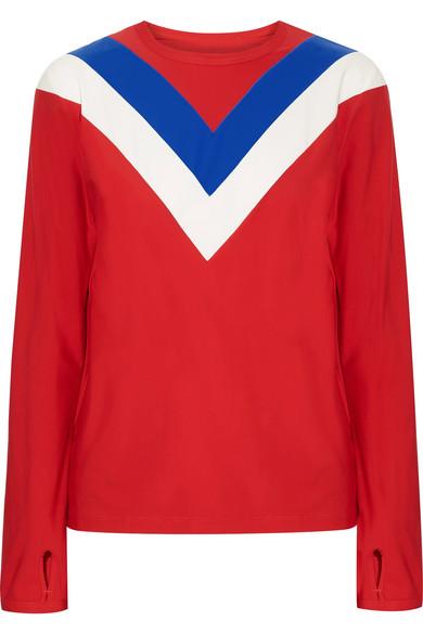 Tory Sport - Chevron Stretch-jersey Top - Red