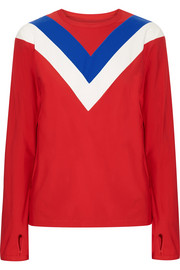 Chevron stretch-jersey top