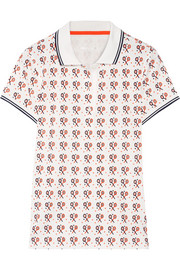 Printed flocked stretch-CoolMax piqué polo shirt
