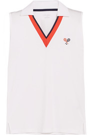 Tory Sport Performance embroidered piqué top