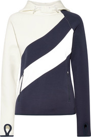 Tory Sport Shell-paneled stretch cotton-jersey hooded top