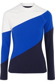Tory Sport Striped stretch-jersey top