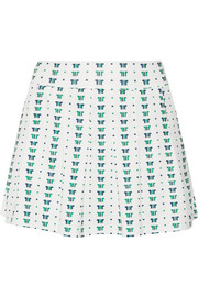 Pleated printed stretch tennis skirt