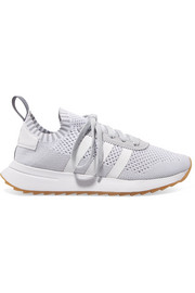 adidas Originals FLB leather and suede-trimmed Primeknit sneakers
